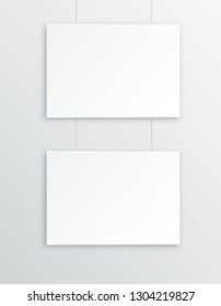 A3, A4 vertical blank picture frame for photographs. Vector realisitc paper or plastic white picture-framing mat with wide borders shadow. Isolated picture frame mockup template on gray background