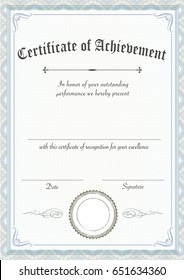 A3 international paper size - Vertical classic and retro certificate of achievement paper template, ready to use