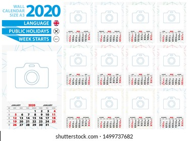 A3 size wall calendar 2020 year with abstract lined background and place for you photo. Week starts from Sunday, English language.