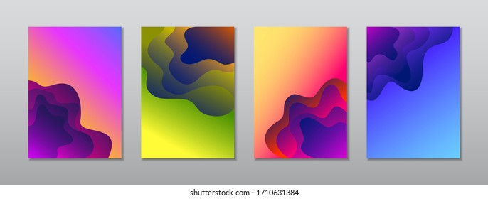 A4 abstract color 3d paper art illustration set. Gradient colors. Vector design layout for banners presentations, flyers, posters and invitations.