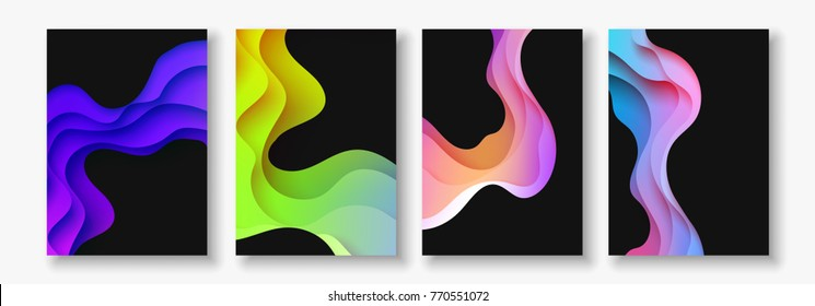 A4 abstract color 3d paper art illustration set. Contrast colors. Vector design layout for banners presentations, flyers, posters and invitations. Eps10.