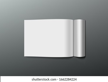 A4 Blank Clear Paper Notebook Spread Template. EPS10 Vector