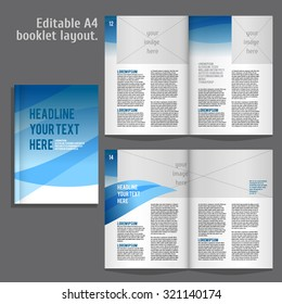 A4 book   geometric abstract Layout Design Template with Cover and 2 spreads of Contents Preview. For design magazines, books, annual reports.