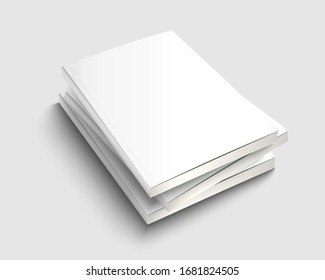 A4 book stack mock up with white cover. Blank journal template design. Textbook with copy space. 3d vector illustration.