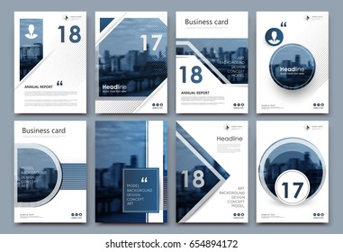 A4 brochure cover design. Graphic mockup for banner, business card, title sheet model set, info flyer, ad text font. Modern vector front page art with urban city river bridge. Round, square frame icon