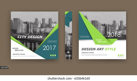 A4 brochure cover design. Template for info banner, business card, title sheet model set, flyer, ad text font. Modern vector front page art with urban city river bridge. Green, turquoise triangle icon