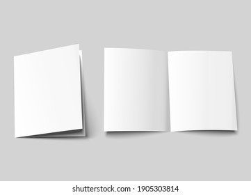 A4 brochure cover mock up. A3 half-fold blank template design. Flyer with copy space. 3d vector illustration.