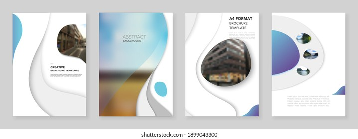 A4 brochure layout of covers design templates with fluid colorful trendy blue gradients geometric shapes for flyer leaflet, A4 format brochure design, report, presentation, magazine cover, book design