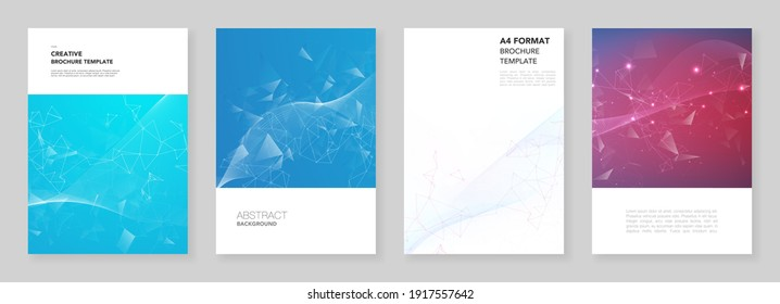 A4 brochure layout of covers design templates for flyer leaflet, A4 brochure design, report, presentation, magazine cover, book design. Polygonal science background with connecting dots and lines
