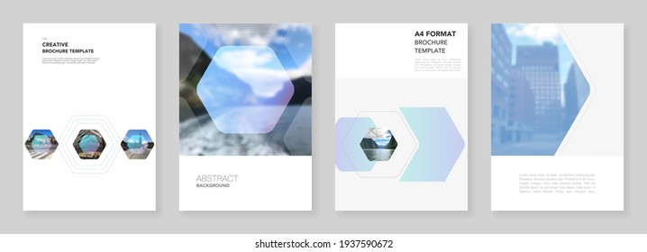 A4 brochure layout of covers templates for flyer leaflet, A4 format brochure design, report, presentation, magazine cover, book design. Corporate identity business concept background with hexagons.