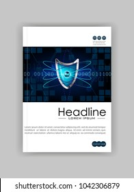 A4 Business Technology Book Cover Design Template. Atom blue shield. Good for Portfolio,  Annual Report, Magazine, Journal, Website, Poster, Monograph, Corporate Presentation, Conference. Vector