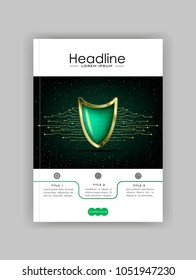 A4 Business Technology Book Cover Design Template. Green shield numbers.  Good for Portfolio, Annual Report, Magazine, Journal, Website, Poster, Monograph, Corporate Presentation, Conference. Vector