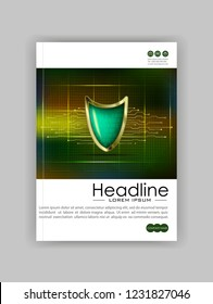 A4 Business Technology Book Cover Design Template. Shield numbers.  Good for Portfolio, Annual Report, Magazine, Journal, Website, Poster, Monograph, Presentation, Conference. Vector Illustration