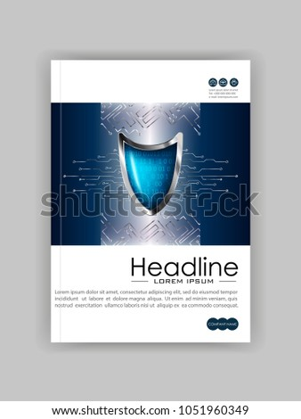 A4 Business Technology Book Cover Design Template. Silver blue shield. Good for Portfolio,  Annual Report, Magazine, Journal, Website, Poster, Monograph, Corporate Presentation, Conference. Vector