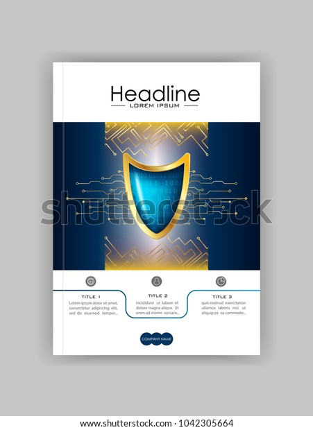 A4 Business Technology Book Cover Design Template. Golden blue shield. Good for Portfolio,  Annual Report, Magazine, Journal, Website, Poster, Monograph, Corporate Presentation, Conference. Vector