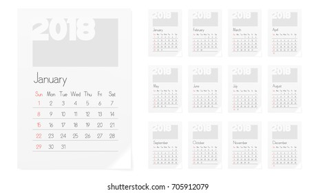 A4 Calendar Of 2018 Year Planner Design Template. EPS10 Vector