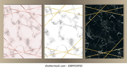 A4 Card Set with pink, white and black marble and gold lines. Luxury template with text place for wedding invite, greeting, birthday card and covers.