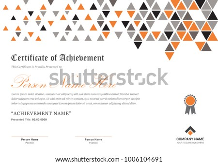 A 4 Certificate Template Triangle Decoration Shapes Stock Vector