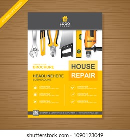 A4 construction tools cover template for a report and brochure design, flyer, leaflets decoration for printing and presentation vector illustration