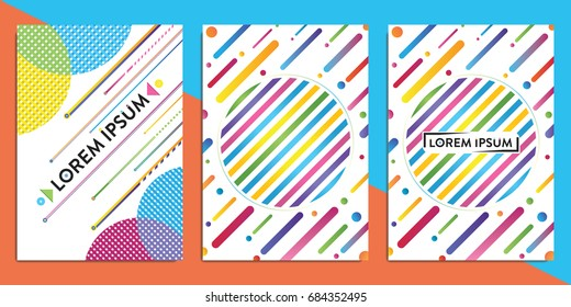 A4 Cover with colorful geometric pattern. Colorful backgrounds. Colorful cover for books, flyers, content, banners etc. Vector template in CMYK colors. Eps10.