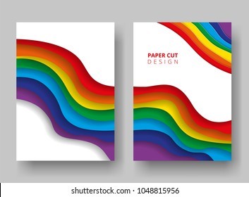 A4 covers with 3D abstract background. Paper cut design. Symbol of LGBT community. Waves of rainbow colors. Design for report annual, brochure, flyers, magazine, posters, catalogs, banners. Vector.