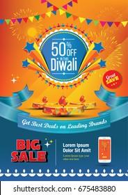 A4 Diwali Sale Poster Design Template Vector Illustration
