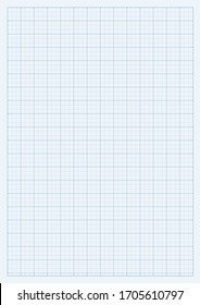 A4 format vector grid mock-up template illustration. Can be used for technical design and notes. Lines are not expanded. Vertical oriented pattern background made in proportional size.