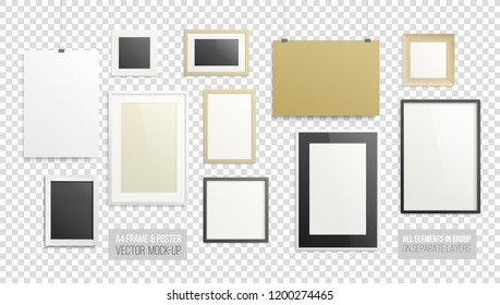 A4 horizontal vertical and square Posters and photography Frame on transparent background vector blank Mockup set. Empty Mock-up frame and poster template for modern art, logo presentation
