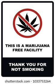 A4 Marijuana free facility - No smoking sign