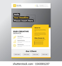 A4 minimalist modern elegant business template flayer vol 32 with orange, white and grey color cmyk ready to print in vector editable layer