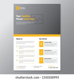 A4 minimalist modern elegant business template flyer with orange, white and grey color