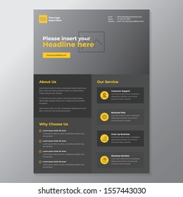 A4 minimalist modern elegant business template flayer vol 83 with grey, orange, and white color cmyk ready to print in vector editable layer