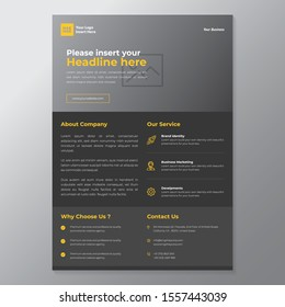 A4 minimalist modern elegant business template flayer vol 81 with grey, orange, and white color cmyk ready to print in vector editable layer