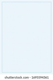 A4 mock up vector illustration. Blue lines vector checkered structure design. Sheet template with editable lines and grid area.  Vertical oriented pattern background made in proportional size.