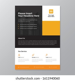 A4 modern elegant business template flayer poster pamphlet brochure with space for photo background in orange, yellow, grey and white color cmyk ready to print vector editable layer