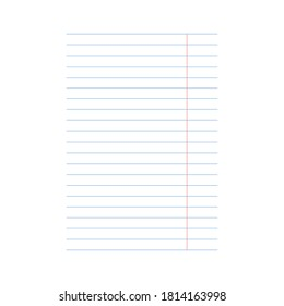 A4 notebook sheet with horizontal linear pattern isolated on white background. Vector illustration