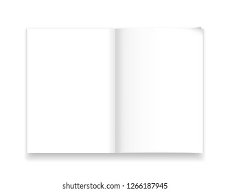 A4 notebook template isolated with realistic shadow. Vector illustration. White page spread with realistic light and shadow. Sketchpad mockup. Blank clear paper with bent tip. Magazine model top view