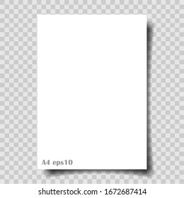 A4 paper with shadow on transparent background. Vector eps10.