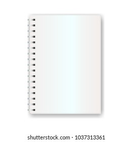 A4 Portrait Blank NoteBook with Spiral Binder Isolated on White Background Vector