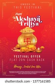 A4 Size Akshaya Tritiya Festival Sale Poster Design Template Vector Illustration