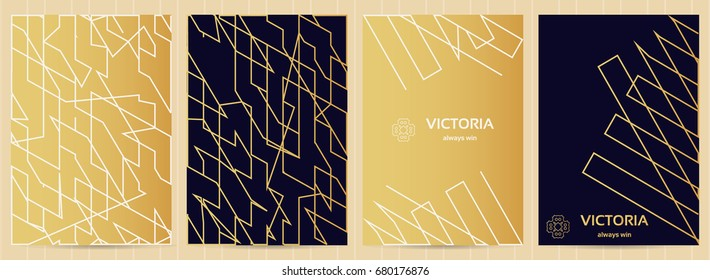 A4 size cards in golden and blue color. Vector luxury business templates for restaurant menu, flyer, greeting card, brochure, book cover and any other decoration.