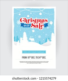 A4 Size Christmas Festival Sale Poster Flyer Design Background Layout Template with 50% Discount Tag