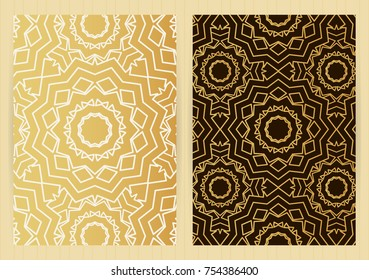 A4 size covers. Mandala round elements. Ethnic background. Japanese, arabic, islamic, eastern, oriental, musli style for restaurant menu, flyer, business card, brochure, book cover, banner.