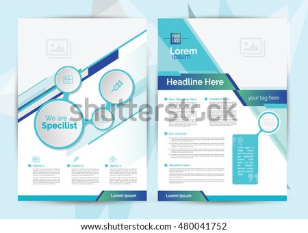 a4 size medical brochure layout design with icon