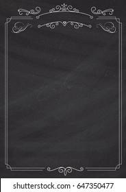 A4 size vertical Cafe menu - ornamental retro border and blackboard textured background