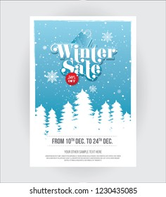A4 Size Winter Sale, Offer Poster Design Template with 50% Discount Tag