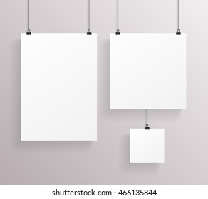 A4 Square Paper Big Little Realistic Poster Icon Template Transperent Background Mock Up Design Vector Illustration