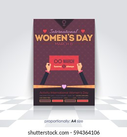A4 Style Flyer, Poster Design. 8 March International Women's Day Celebration, Greeting Card Background, Vector Colorful Elements