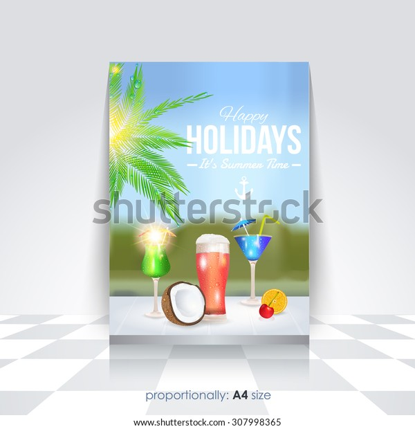 A4 Style Summer Holiday Flyer, Poster Design, Brochure and Cover Template