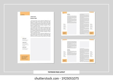 a4 text book page layout template. editable spreadsheet with facing pages, body text, headlines and footnotes for definitions. simple minimal vector magazine, booklet, catalog, flyer mock up